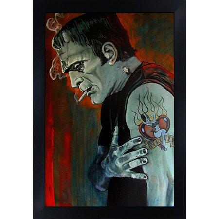 Halloween Graph Art (Broken Hearted by Mike Bell Frankenstein Halloween Tattoo Framed Wall Art)