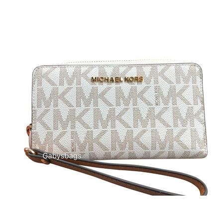 42d82d68cf3b Michael Kors - Michael Kors Jet Set Phone Wristlet Wallet Vanilla MK Acorn  - Walmart.com