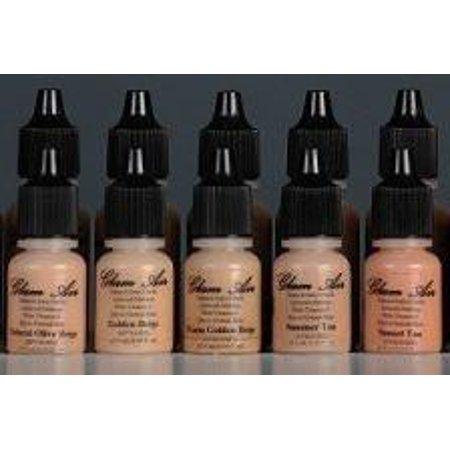 Glam Air Airbrush Water-based Large 0.50 Fl. Oz. Bottles of Foundation in 5 Assorted Medium Satin Shades (For Normal to Dry