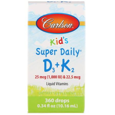 Carlson Labs  Kids  Super Daily D3 K2  25 mcg  1 000 IU    22 5 mcg  0 34 fl oz  10 16 ml (Liquid Vitamin D And K2)