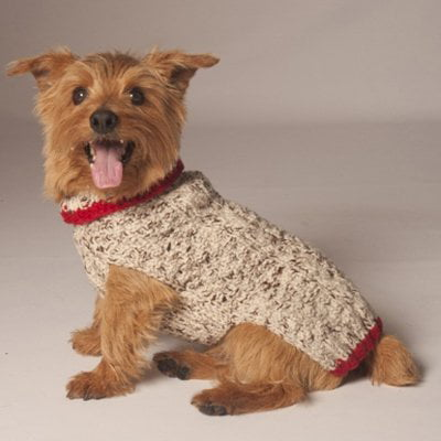 Chilly Dog Oatmeal Cable Knit with Red Trim Dog Sweater