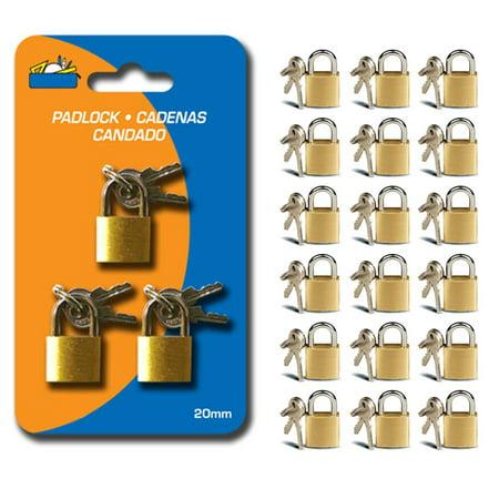 Mini Lock (18 Small Metal Padlock Mini Brass Tiny Box Travel Locks Keyed Jewelry 2 Key 20mm)