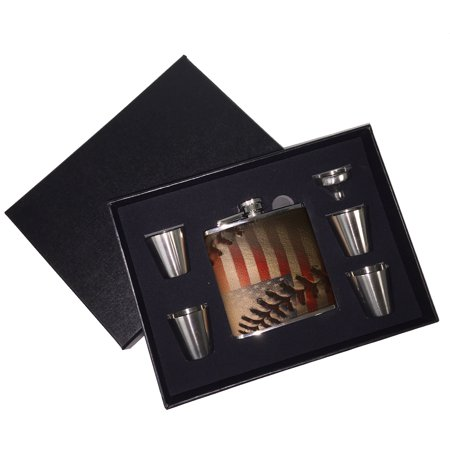 Leather Baseball Stitch - KuzmarK 6 oz. Leather Flask Set in Black Presentation Box -  American Flag Baseball Stitch