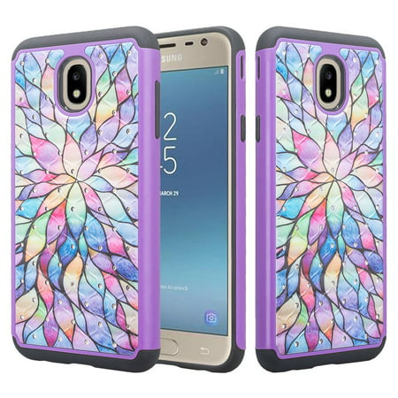 Samsung Galaxy J7 Star Case,J7 Crown Case,J7v 2nd Gen,J7 2018,J7 Refine Case Glitter Diamond Sparkle Shiny Bling Shock Proof Dual Layer Phone Case Cover - Rainbow Flower
