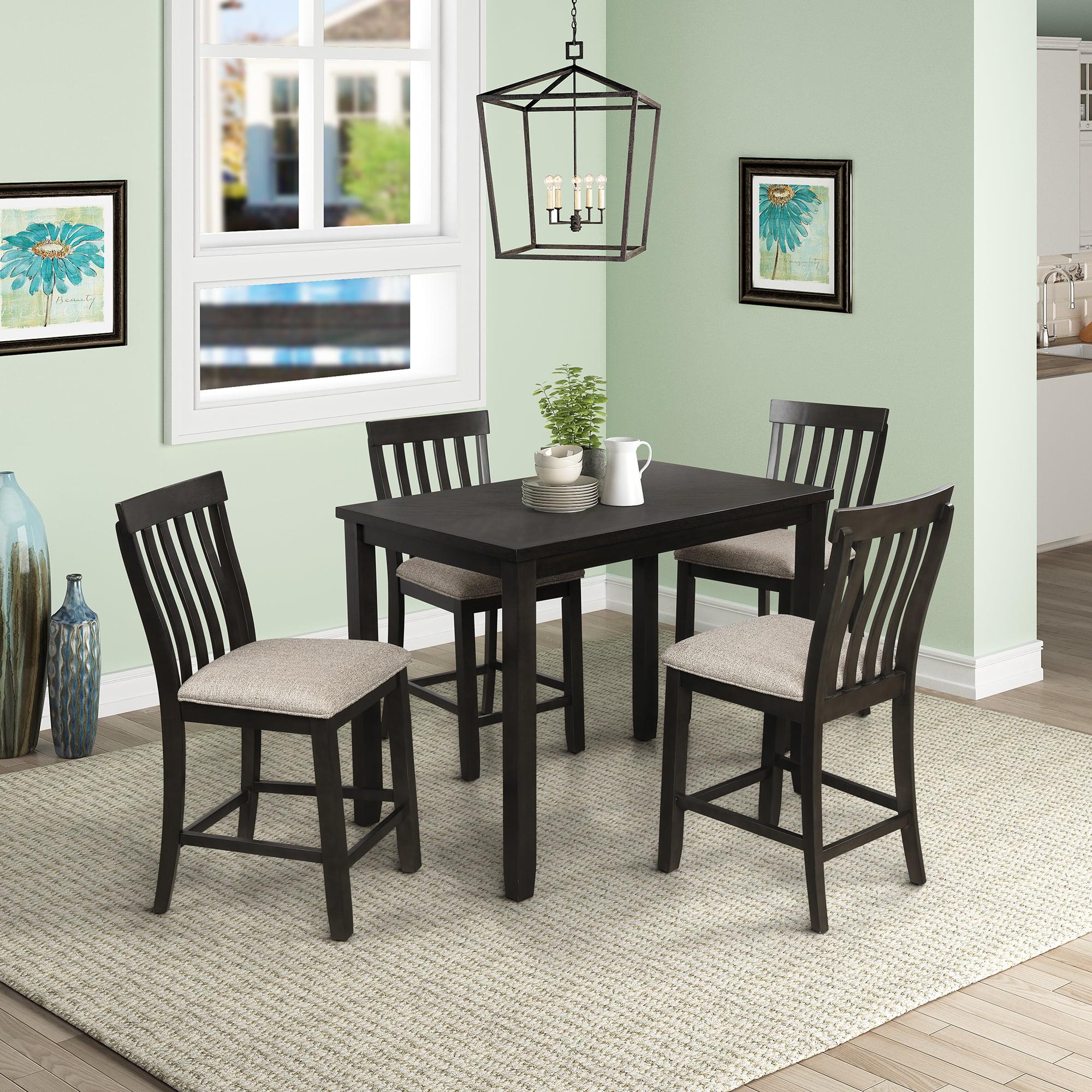 5 pieces counter height dining table set rectangular wood