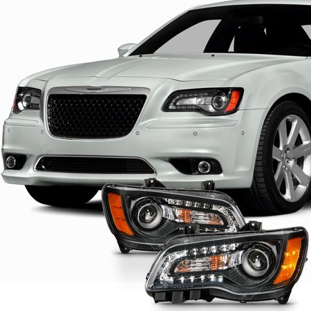 Fit Angel Eye 2011 2012 2013 14 Chrysler 300 Halogen Projector Black Headlights