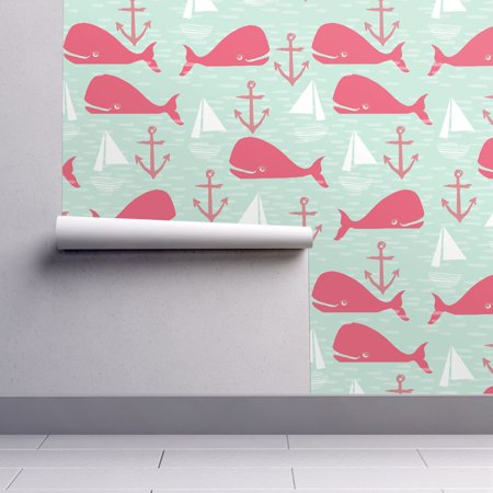Peel-and-Stick Removable Wallpaper Whale Nautical Preppy Anchor Nautical ()