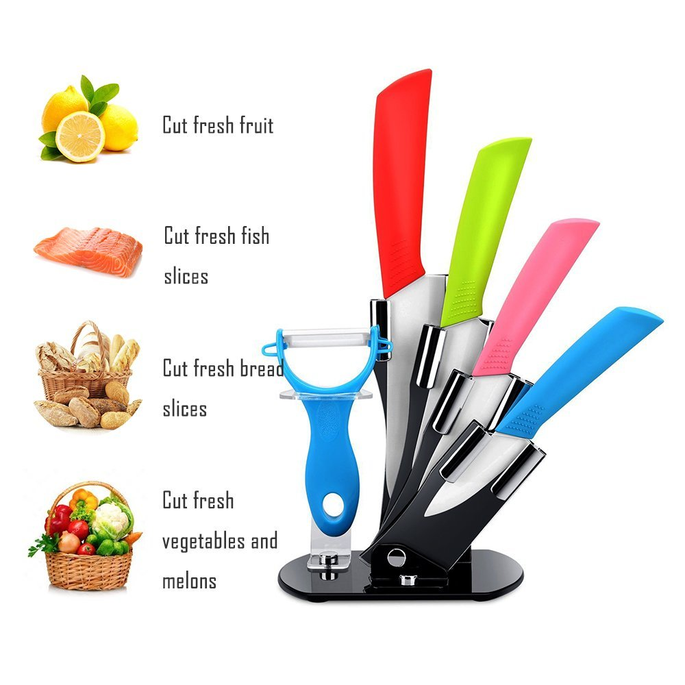 Ceramic Knife Set 6 Piece Kitchen Knife Set and Vegetable Peeler Set with Adjustable Holder Stand (6) by