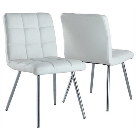 Atlin Designs Faux Leather Dining Chair in White and Chrome (Set of 2) Chrome Two Seat Chair