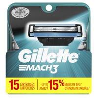 Gillette Mach3 Mens Razor Blade Refill Cartridges, 15 ct