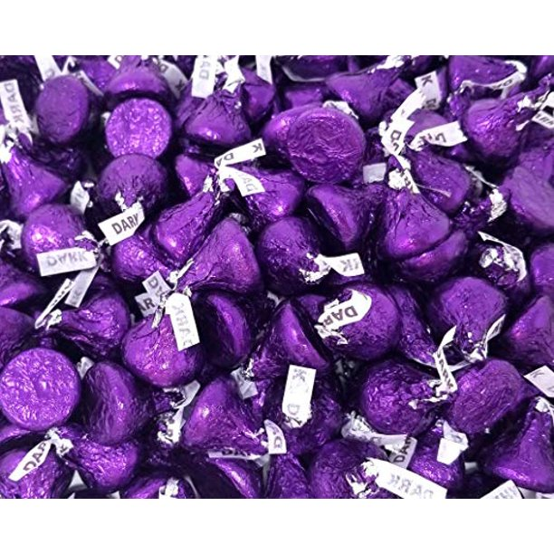 Dark Chocolate, Hershey's Kisses, Purple Foil, (Pack of 4 LBS Bag)