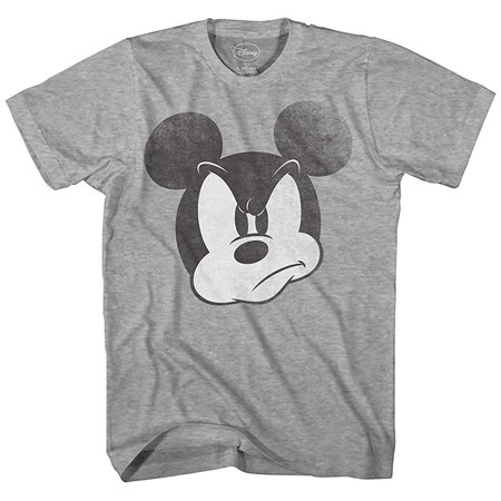 Disney Mad Mickey Mouse Funny Adult Graphic Disneyland Mens T-shirt (Heather Grey) - Funny Family Disney Shirts