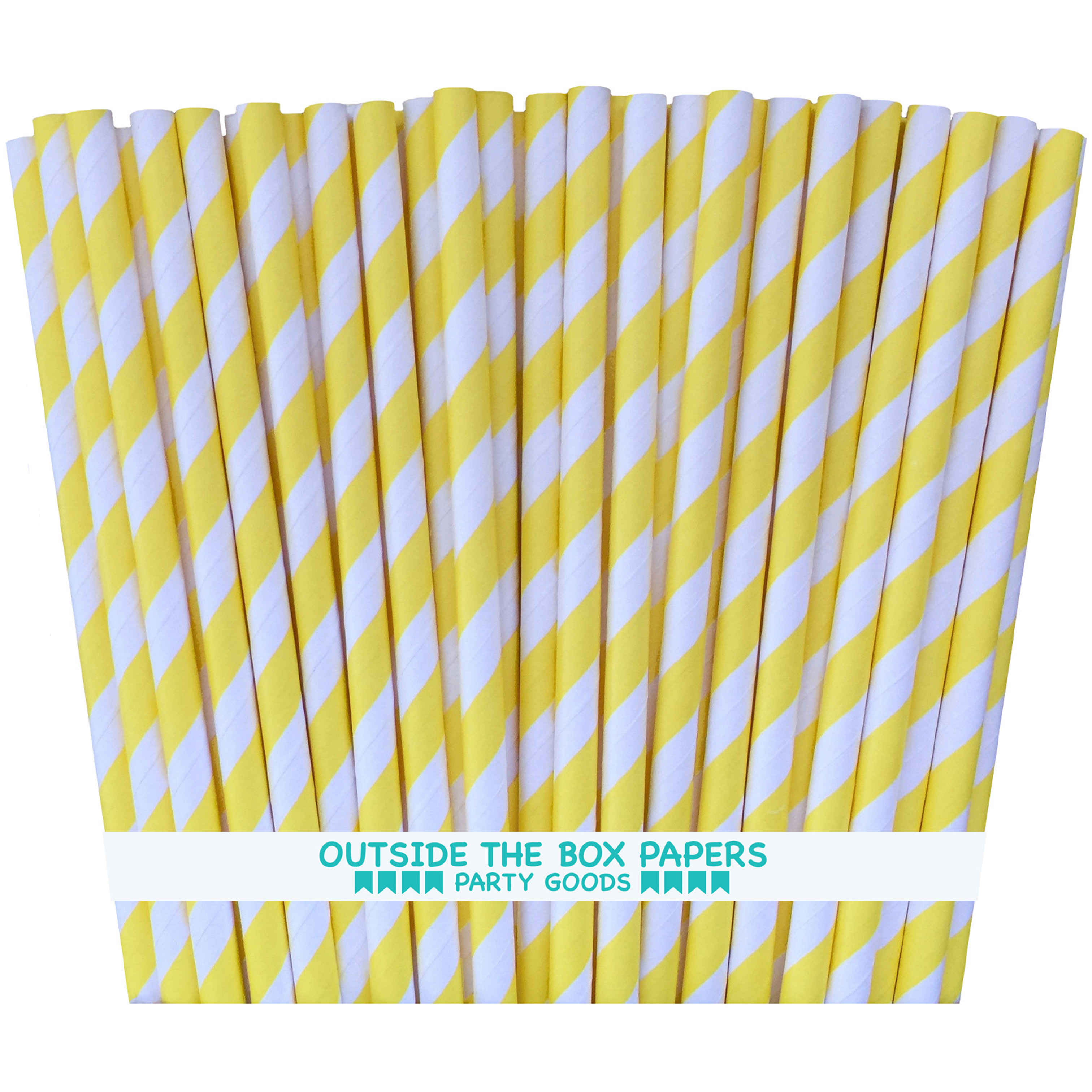 Yellow and White Striped Paper Straws   100 Pack
