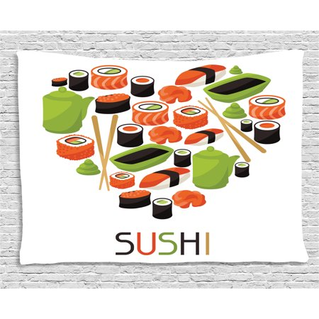 Sushi Tapestry, Figures of Teapot Tobiko Roll Wasabi and Soy Sauce Arranged in Heart Shape Artwork, Wall Hanging for Bedroom Living Room Dorm Decor, 60W X 40L Inches, Multicolor, by