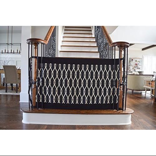 The Stair Barrier   Bannister To Bannister Signature Baby/Pet Gate (Onyx