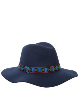 Scoop Casual Boho Wide Brim Felt Fedora with Embroidery Women's