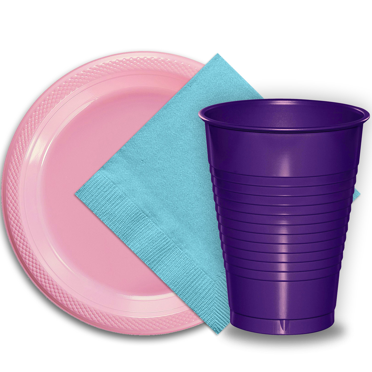 "50 Pink Plastic Plates (9""), 50 Purple Plastic Cups (12 oz.), and 50 Light Blue Paper Napkins, Dazzelling Colored Disposable Party Supplies Tableware Set for Fifty Guests."