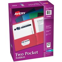 Two Pocket Folders, Holds up to 40 Sheets, 25 Assorted Folders