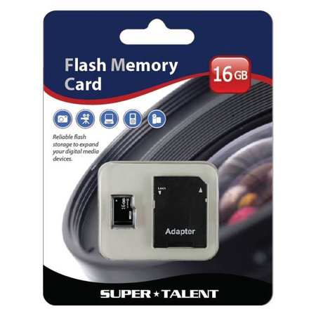 Super Talent 16GB Micro SDHC Memory Card with Adapter (MSD16ST10R) Super Talent Sd Card