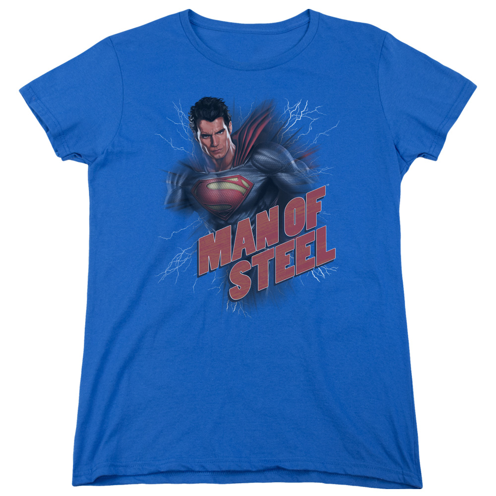 Man of Steel Superman Lightning Power Womens Short Sleeve Shirt