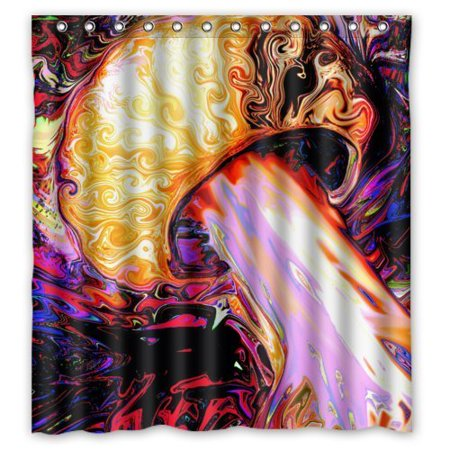 GreenDecor Colorful Abstract Mushroom Trippy Art Waterproof Shower Curtain Set With Hooks Bathroom Accessories Size 66x72