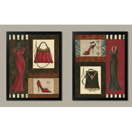 - Fashion Collage; Purse, Shoe, & Dress Retro Prints; Two 11x14 Black Framed Prints. Red/Black/Brown