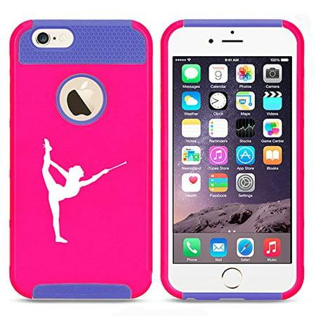 For Apple iPhone 7 Shockproof Impact Hard Soft Case Cover Female Gymnast Twirling Baton Gymnastics (Hot Pink-Blue) ()