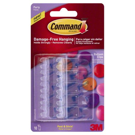 Command Party Balloon Clips, 10 Hooks and 10 Strips (On a - Ballon Clips