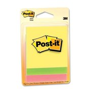 "Post-it 5506 Ultra Fluorescent Colors Adhesive Note - Self-adhesive, Repositionable - 3"" x 3"" - Assorted - Paper - 3 / Pack"