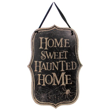 Halloween Story Webs (Halloween HOME SWEET HAUNTED HOME PLAQUE Wood Wall Sign Spider Web)