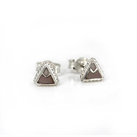 Everyday Stud Post Earrings (Sterling Silver Stone Inlay Triangle Everyday