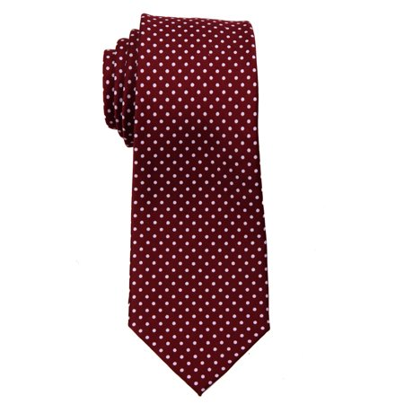 Dot Long Tie (Mens Narrow Sim Polka Dot Necktie - Burgundy)