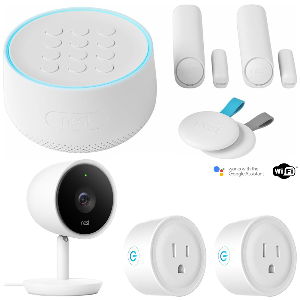 Nest Secure Alarm System Starter Pack (H1500ES) w/ Security Camera Bundle Includes, Nest Cam Indoor IQ Smart Wi-Fi Security Camera (NC3100US) and Deco Gear 2 Pack WiFi Smart Plug