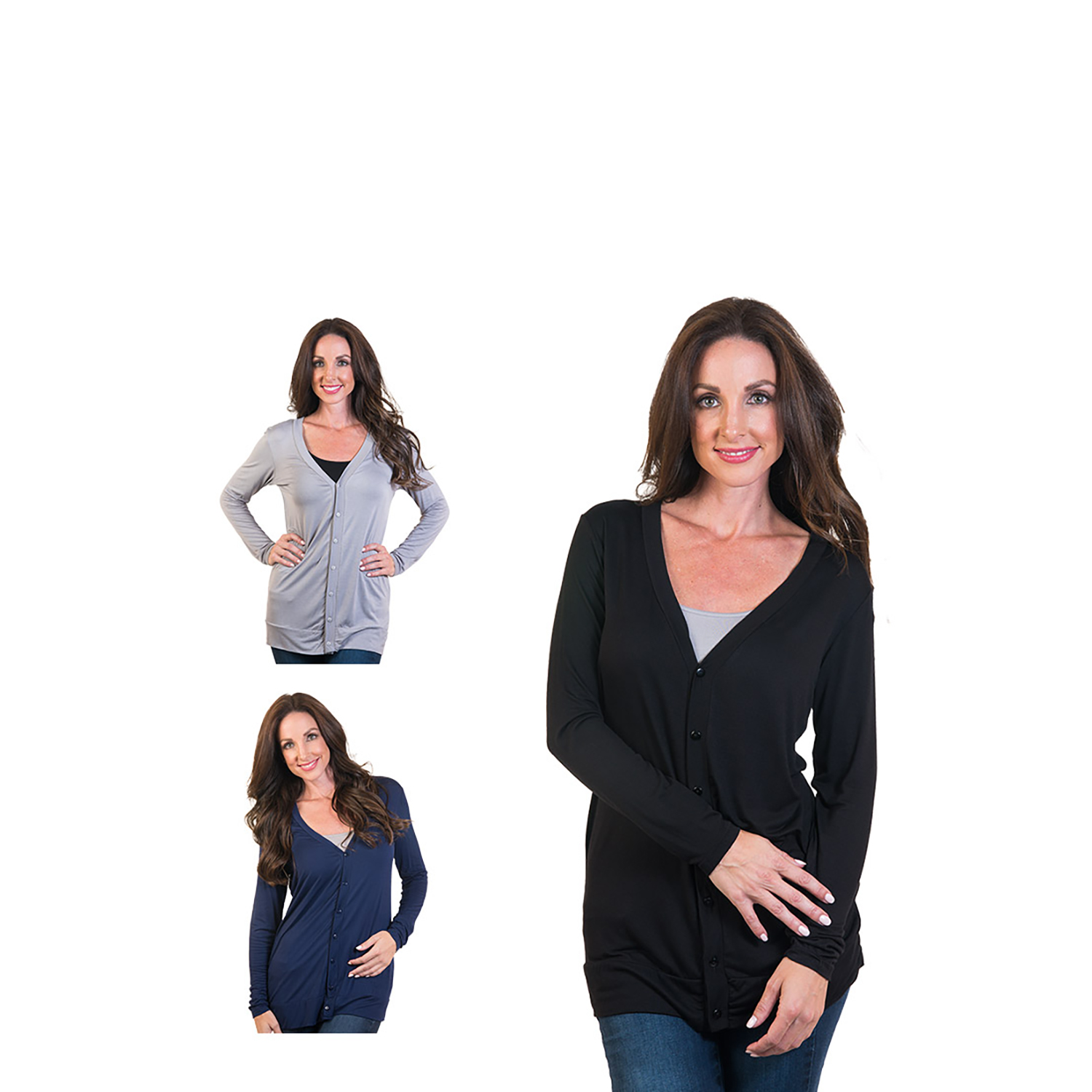 Women's Agiato Long Modern Knit Button Front Cardigan 3-Pack