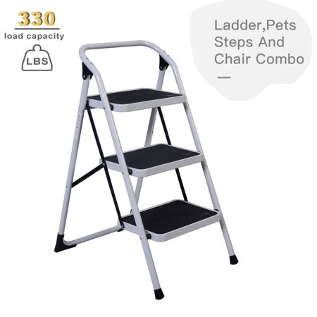 Zimtown Portable Folding 3 Step Ladder, Lightweight Anti-slip Folding Stool Platform Ladder, 330Lbs High -