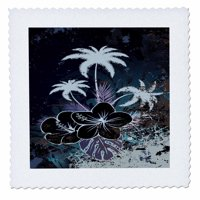 3dRose Purple and Blue Hawaiian Flowers With Palm Trees - Quilt Square, 10 by 10-inch
