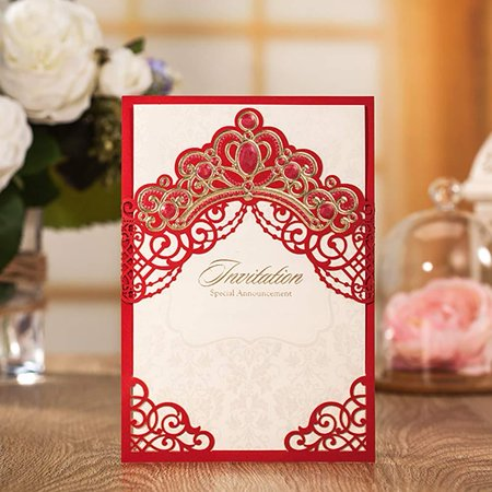 Jofanza Elegant Laser Cut Wedding Invitations Red Princess Crown Theme | Party Invites and Envelopes | All Occasions - Anniversary Bridal Shower Baby Shower Birthday Party Quinceanera (1 Piece) 1 Piec - Princess Themed Wedding