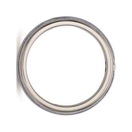 Edward Mirell Titanium Trpl Groove Blue Anodized & Sapphire Ring - image 3 de 7