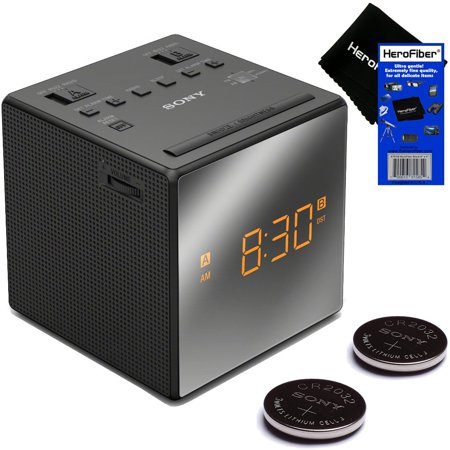 Sony Dual Alarm Clock with Extendable Snooze, AM/FM Radio, Built-in Calendar, Large LED Display, & Battery Backup (Black) + Sony Replacement Batteries + HeroFiber Ultra Gentle Cleaning Cloth (Sony Am Fm Alarm Clock)