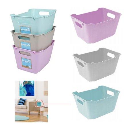 3 Home Decor Mini Storage Boxes Bins Stackable Tub