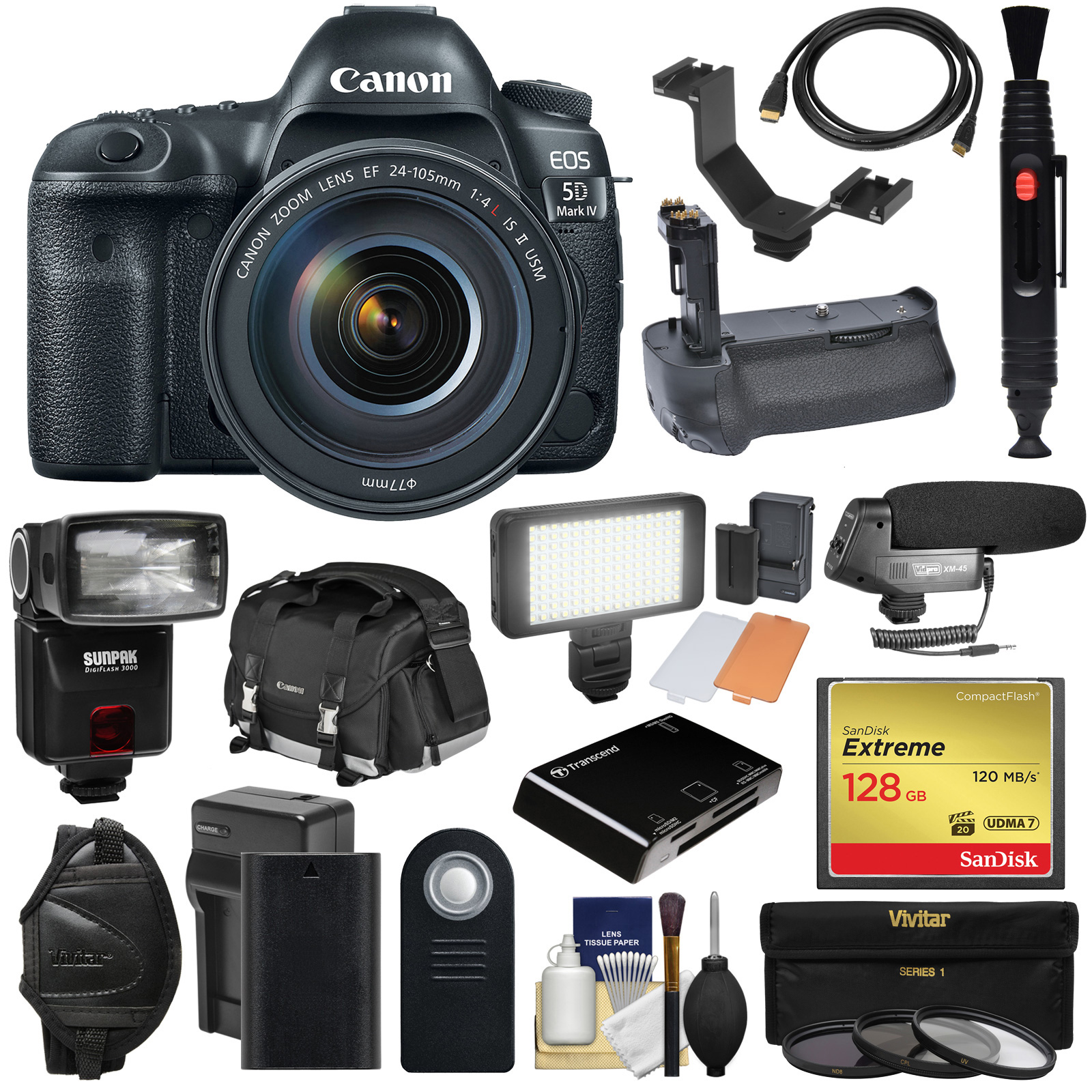 Canon EOS 5D Mark IV 4K Wi-Fi Digital SLR Camera & 24-105mm f 4L IS II USM Lens + 128GB CF Card + Battery & Charger +... by Canon