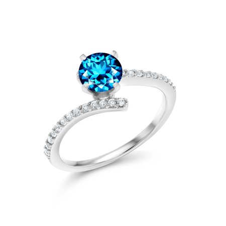 925 Silver Solitaire w/ Accent Stones Ring Set with Kashmir Blue Topaz from -