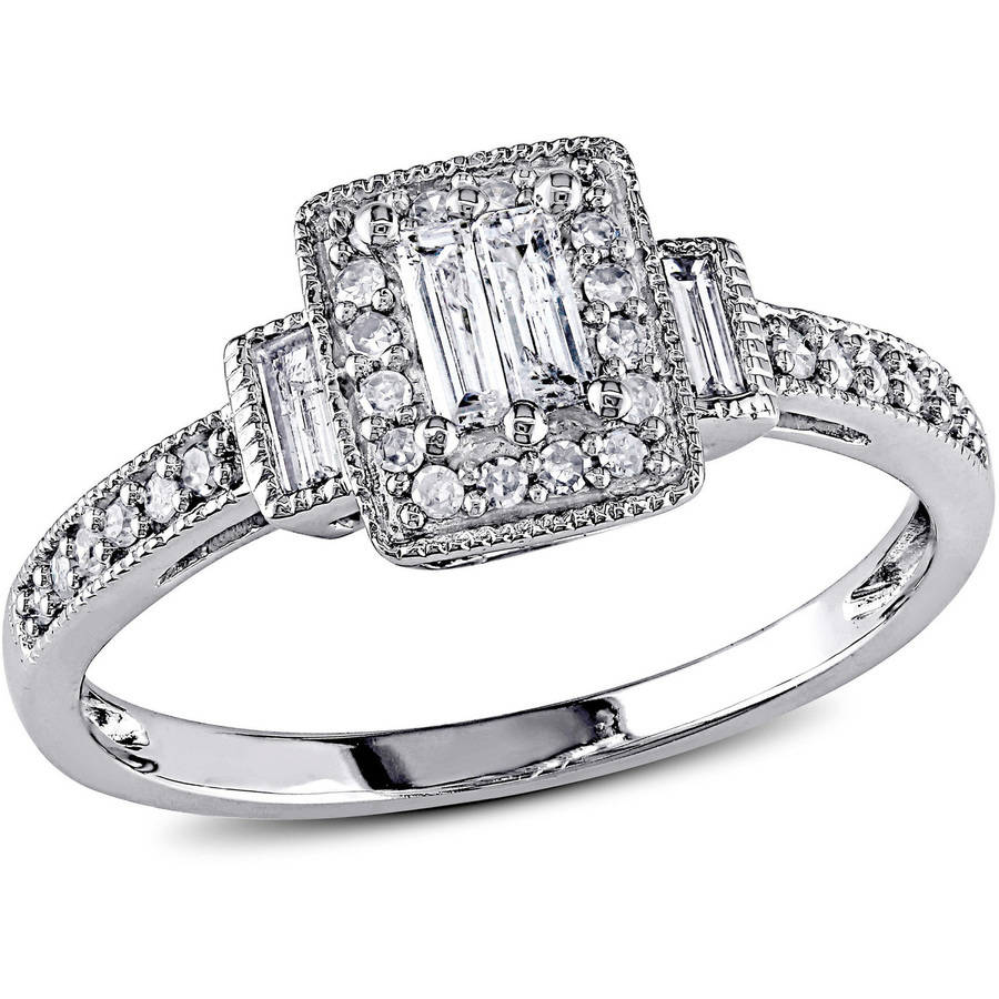 Miabella 1/3 Carat T.W. Baguette and Round-Cut Diamond 10kt White Gold Engagement Ring