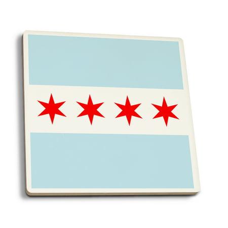 Chicago, Illinois - Flag (Version #2) - Lantern Press Artwork (Set of 4 Ceramic Coasters - Cork-backed, (Chicago Cubs Coasters)