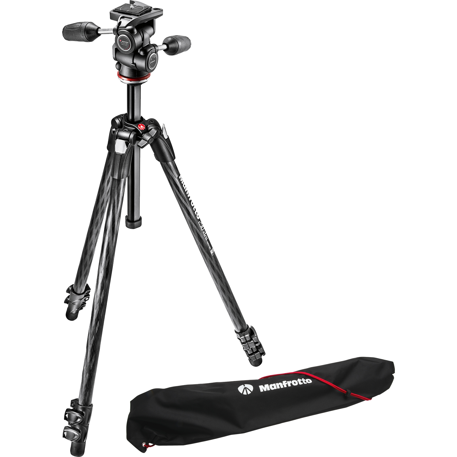 "Manfrotto 290 Xtra 70"" Carbon Professional Tripod with 3-Way Head & Case Kit"