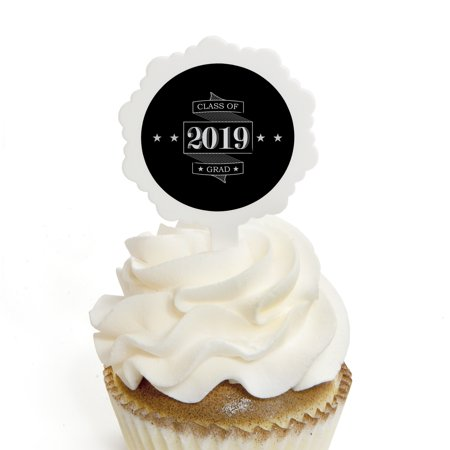 Graduation Cheers - Cupcake Picks with Stickers - 2018 Graduation Party Cupcake Toppers - 12 Count](Cupcake Pics)