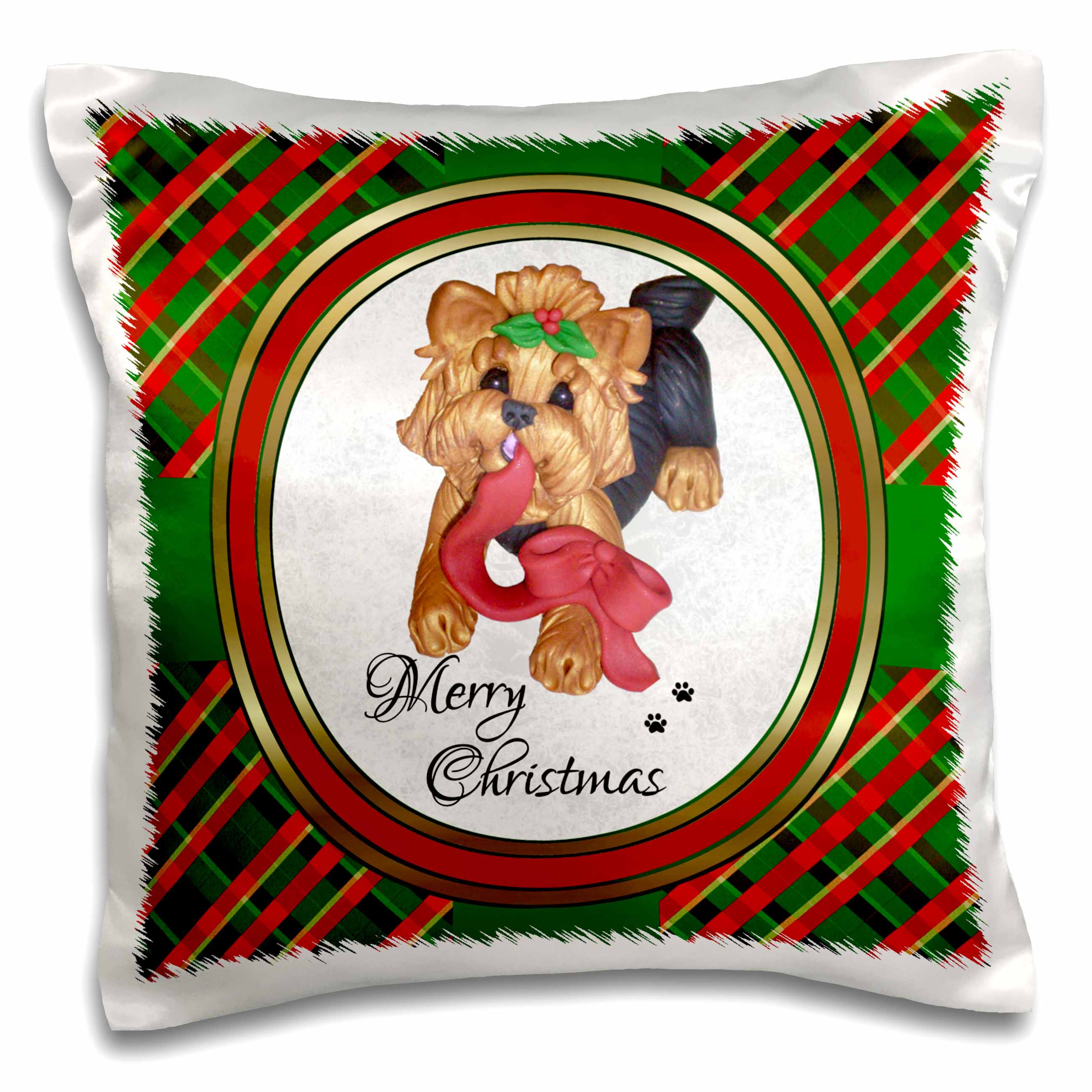 3dRose Cute Merry Christmas Red Ribbon Yorkie Yorkshire Terrier Dog Art , Pillow Case, 16 by 16-inch