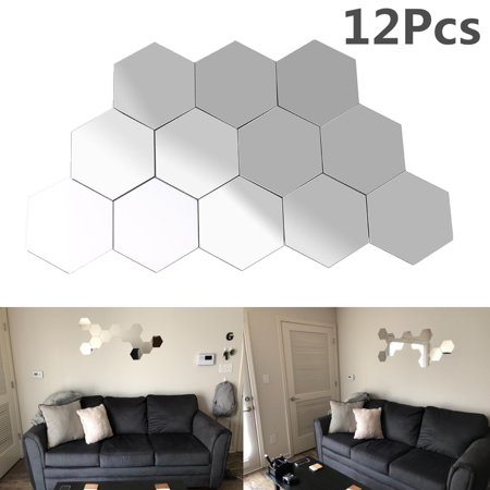 Yosoo Mirror Wall Sticker, 12Pcs Acrylic 3D Geometric Hexagon Mirror Removable DIY Self-adhesive Home Living Room Bedroom Decorative Art Decals - 8*7 cm/3.14*2.75 inchs](Diy Halloween Room Decor)