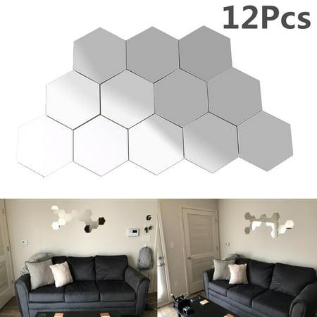Yosoo Mirror Wall Sticker, 12Pcs Acrylic 3D Geometric ...