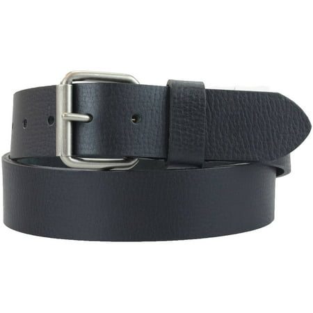 1-1/2 in. US Steer Hide Leather Pebble Grain Men's Belt w/ Antq. Nickel Roller Buckle